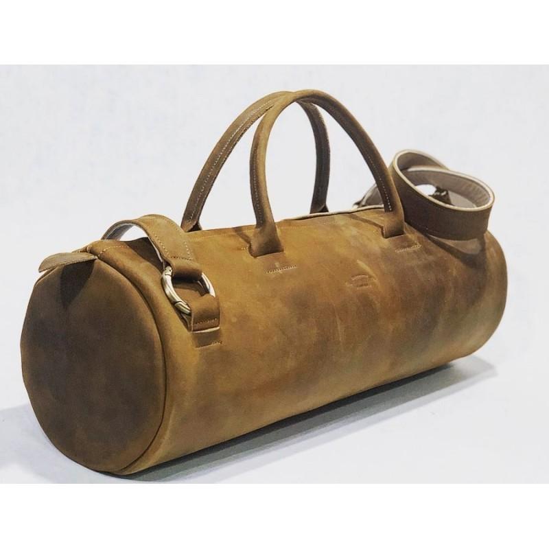 Erre bolso hecho a mano de cuero marrón graso