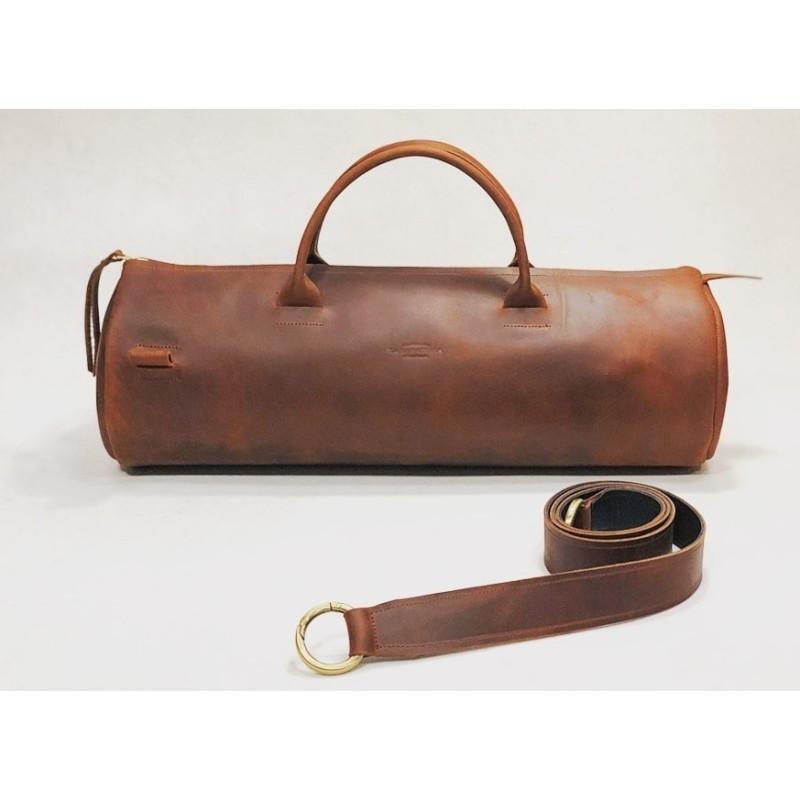 Pueblo bolso hecho a mano de cuero rojo graso