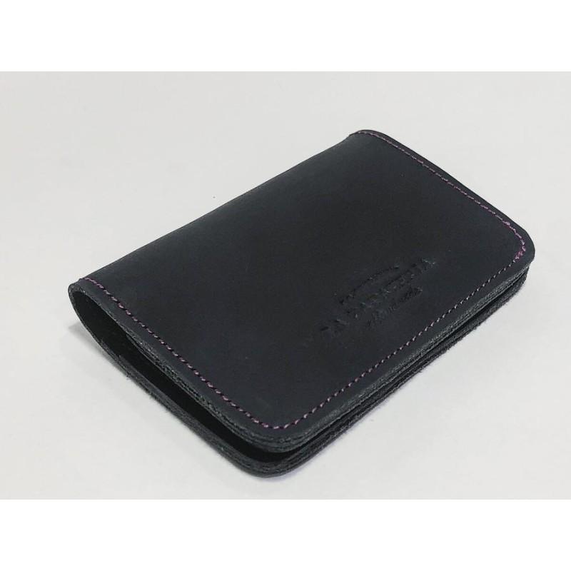 1656 billetera de cuero hecha a mano negro graso detalles lila