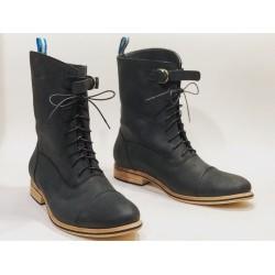 Juliana botas de cuero hechas a mano negro graso mate detalles negro
