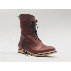 Juliana botas de cuero hechas a mano rojo graso detalles negro
