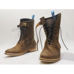 Juliana botas de cuero hechas a mano camel graso detalles negro
