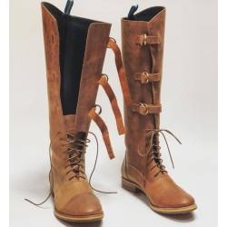 Juliana Polo Fem botas de cuero hechas a mano ranger vino detalles beige