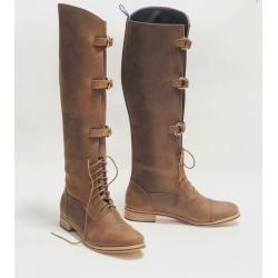 Juliana Polo Fem botas de cuero hechas a mano marrón graso detalles negro