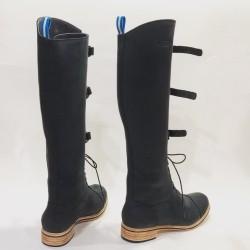Juliana Polo Fem botas de cuero hechas a mano negro graso detalles negro