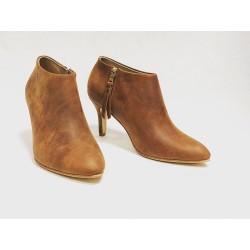 Bardot zapatos hechos a mano de cuero ranger vino taco 7 cm