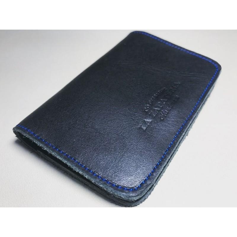 1656 billetera de cuero hecha a mano napa negro detalles azul
