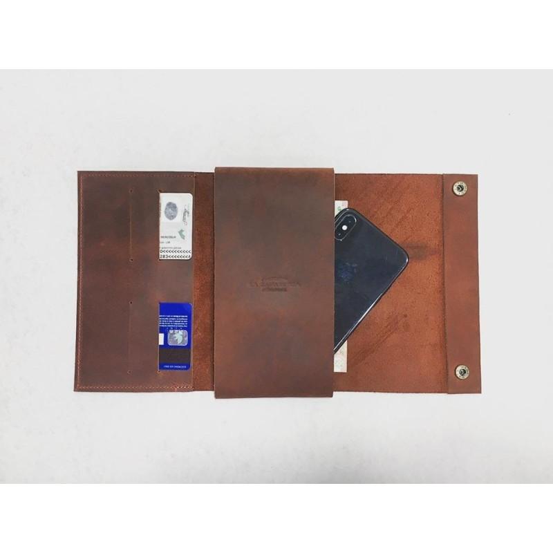 Case Phone Wallet cartera de cuero hecho a mano rojo graso