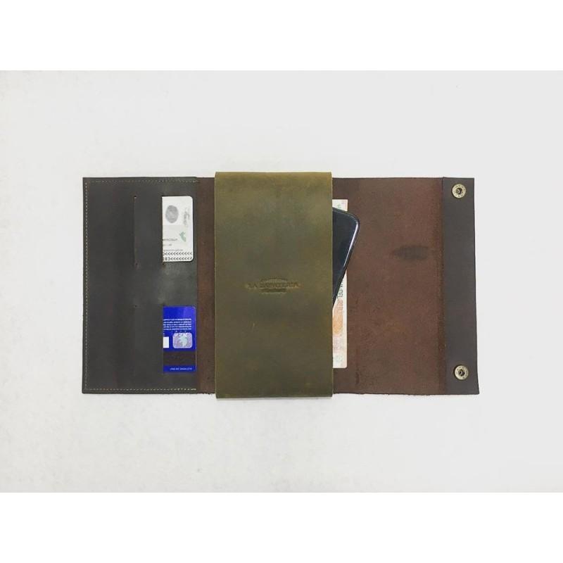 Case Phone Wallet cartera de cuero hecho a mano marrón graso verde graso