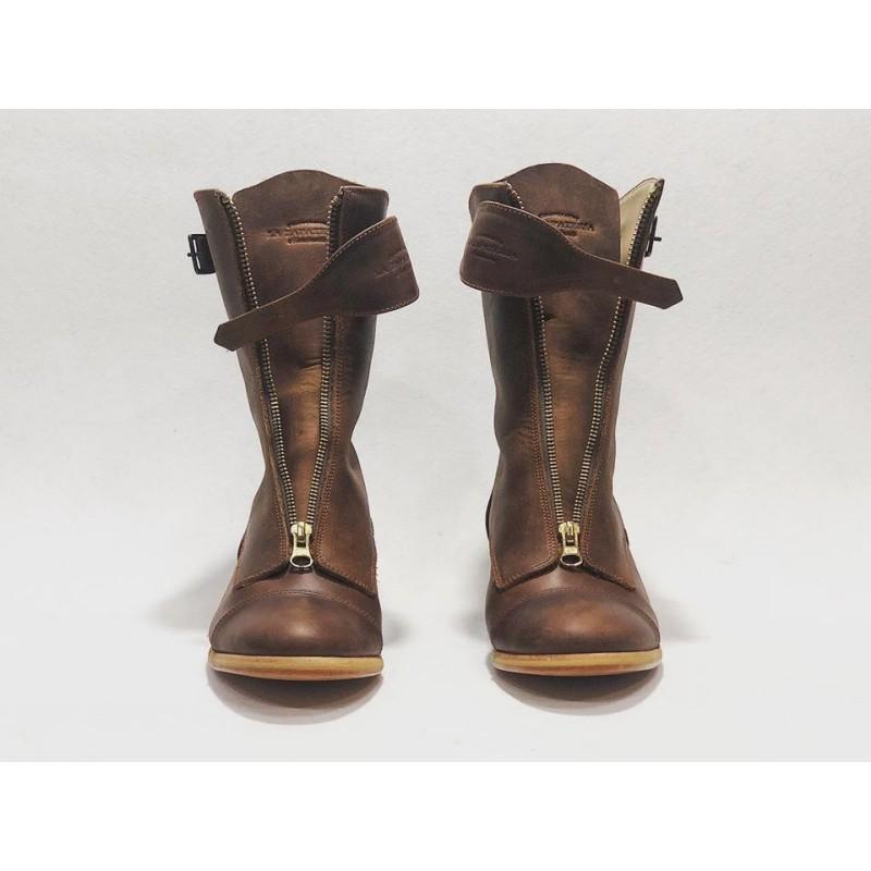 Quiroga botas hechas a mano de cuero ranger vino detalles beige