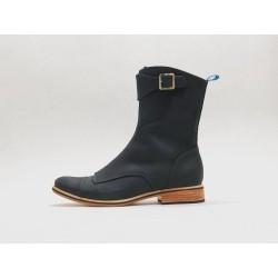 Quiroga botas hechas a mano de cuero negro graso detalles negro