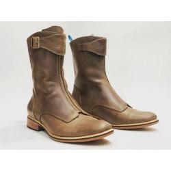 Quiroga botas hechas a mano de cuero camel cerato detalles negro