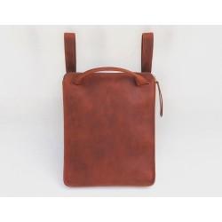 Nómada Backpack portalaptop de cuero hecho a mano rojo graso cierre