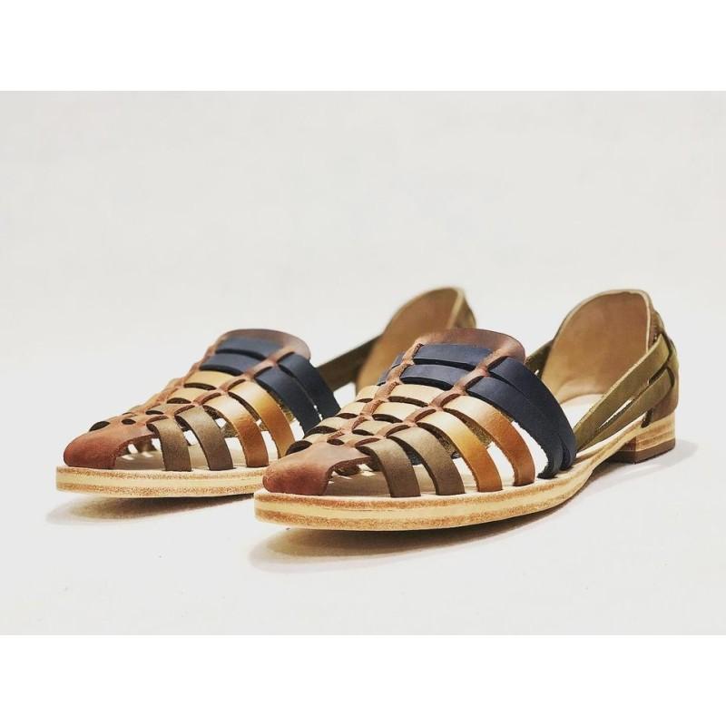 Indian Beloved sandalias de cuero hechas a mano rojo verde marrón camel azul caramelo beige