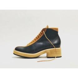 Patagonia zapatos hechos a mano de cuero napa negro ranger caramelo detalles caramelo negro beige