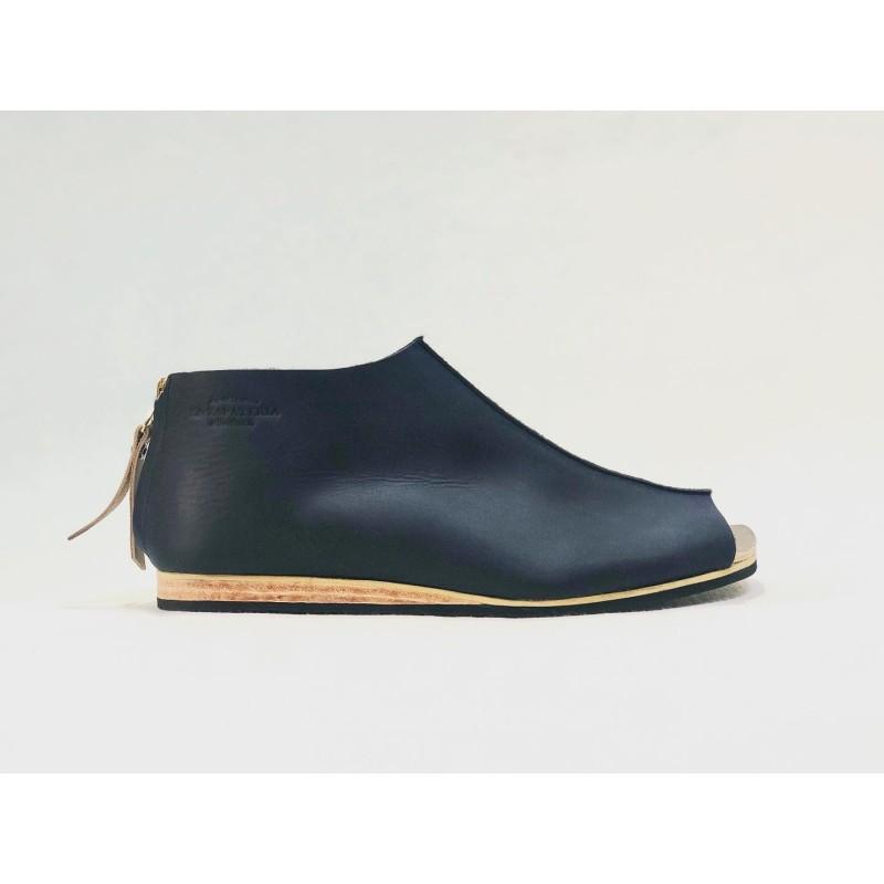 Primitive sandalias de cuero hechas a mano azul océano graso tierra seca graso detalles beige negro