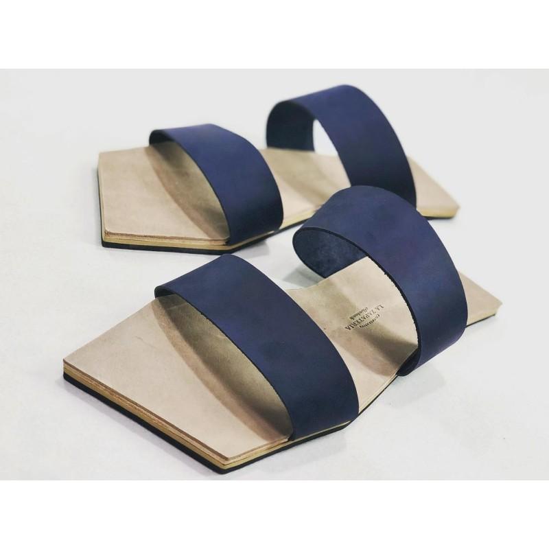 Inca sandalias de cuero hechas a mano azul graso océano tierra seca graso detalles beige