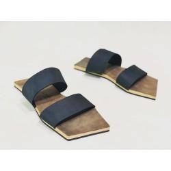 Inca sandalias de cuero hechas a mano negro graso cerato camel detalles beige