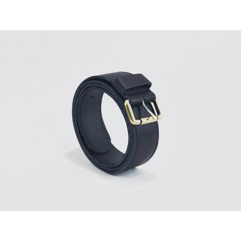 Classique cinturón de cuero hecho a mano napa negro detalles bronce negro