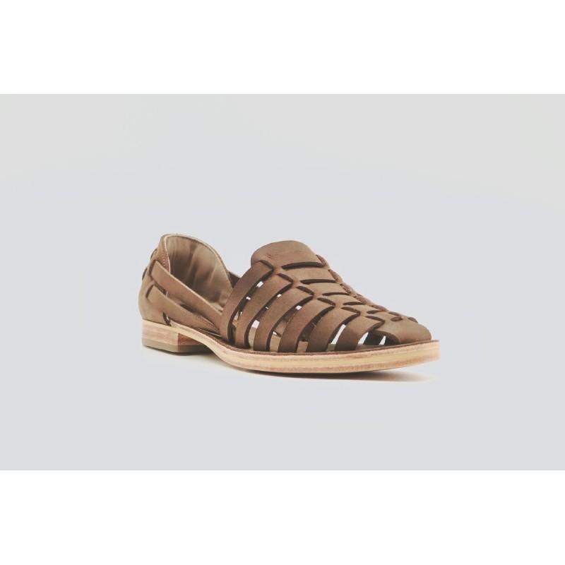 Indian Beloved Marrón Graso sandalias de cuero hechas a mano