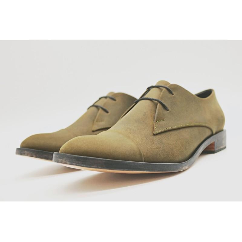 Pour Cecile Classique cuero graso verde con cerco zapato de cuero hecho a mano