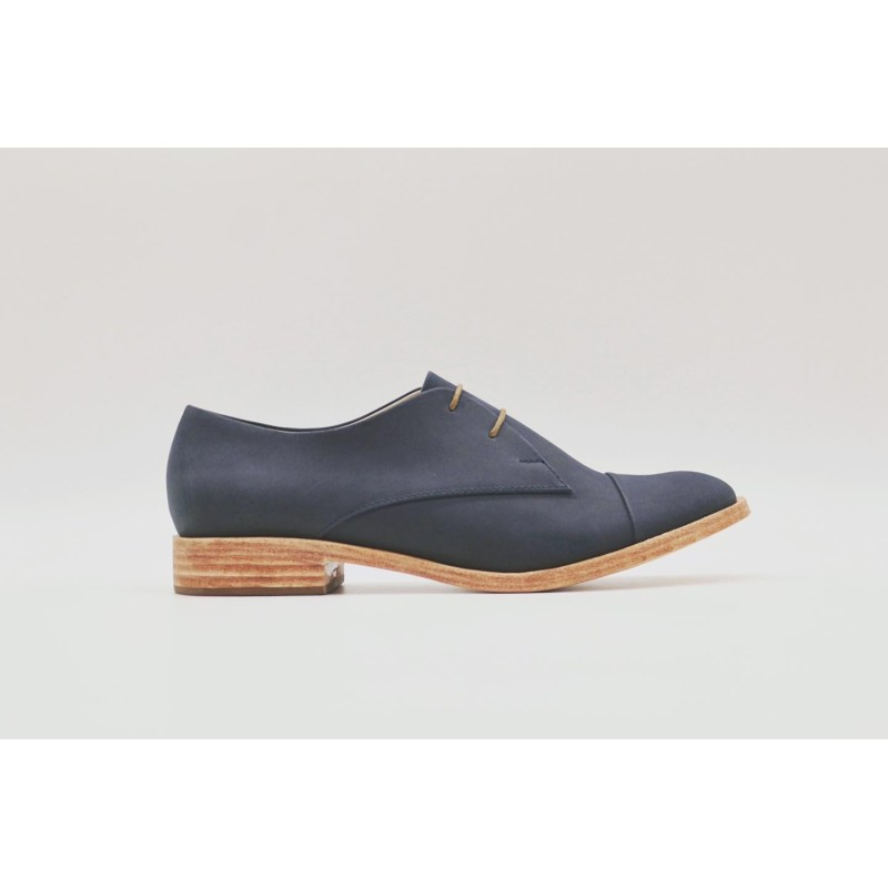 Pour Cecile Classique Azul océano con cerco zapato de cuero hecho a mano