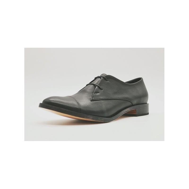Pour Cecile cuero napa con cerco zapato de cuero hecho a mano